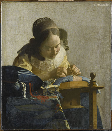 Johannes Vermeer (1632-1675), The Lacemaker, ca.1669-70, Oil on canvas mounted on panel, Paris, Musée du Louvre