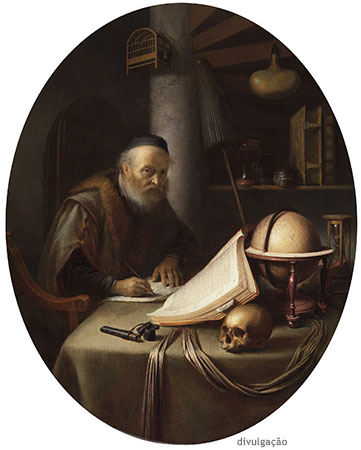 Gerrit Dou (1613-1675), Scholar Interrupted at His Writing, ca. 1635, Oil on panel, New York, The Leiden Collection