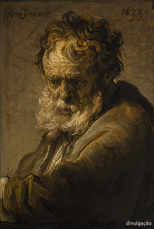 Rembrandt van Rijn (1606-1669), Bust of a Bearded Old Man, 1633, Oil on paper, mounted on panel, New York, The Leiden Collection