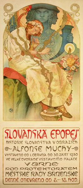 Poster for the exhibtion of 'The Slav Epic' at Brno, 1928-1930